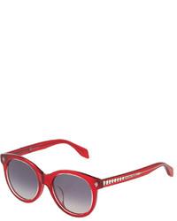 Alexander McQueen Havana Cat Eye Plastic Sunglasses Red