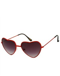 HB Red Frame Heart Shaped Sunglasses