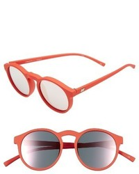 Le Specs Cubanos 47mm Round Sunglasses Black Rubber