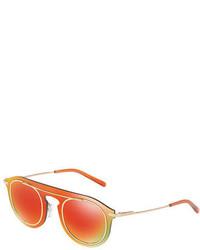 Dolce & Gabbana Mirrored Metal Wrap Sunglasses