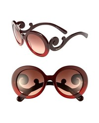 Prada Baroque 55mm Round Sunglasses Red One Size