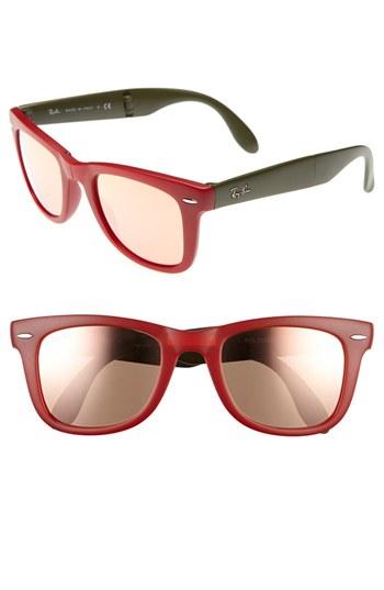 50mm Sunglasses Size  ray ban folding wayfarer 50mm sunglasses matte red one size