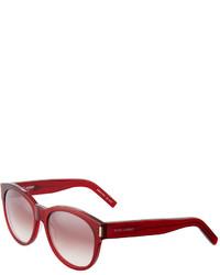 Saint Laurent Round Plastic Sunglasses Dark Red