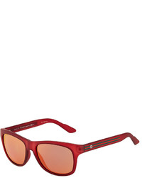 Gucci Square Plastic Sunglasses W Web Arms Red