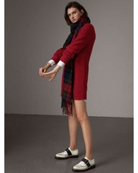Burberry Rib Knit Wool Cashmere Mohair Sweater Dress
