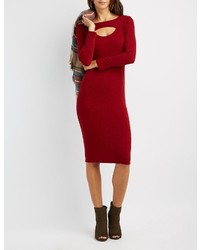 Charlotte Russe Ribbed Cut Out Sweater Dress