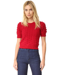 Alice + Olivia Blair Bobble Puff Sleeve Sweater