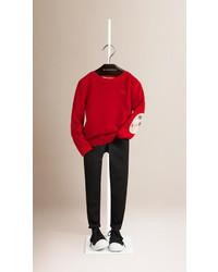 Burberry Check Elbow Patch Cashmere Sweater