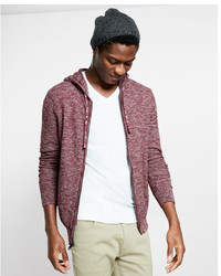 Express Cotton Textured Full Zip Hooded Sweater