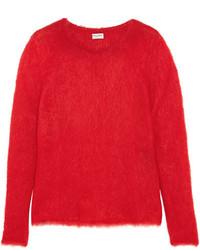 Saint Laurent Mohair Blend Sweater Red