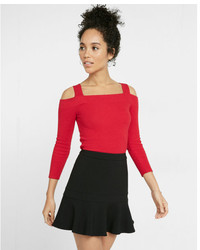 Express Petite Fitted Ribbed Cold Shoulder Sweater