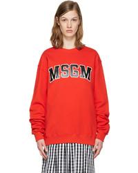 MSGM Red Block Letter Logo Pullover