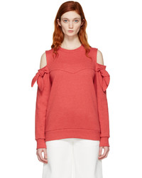 Sjyp Red Off Shoulder Knotted Pullover