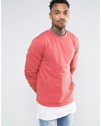 Asos Sweatshirt With Reverse Loopback Kangaroo Pocket In Pink