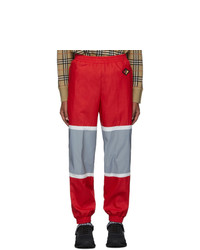 Burberry Red And Silver Bi Color Track Pants