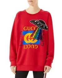 Gucci Oversize Sequin Detail Logo Sweatshirt