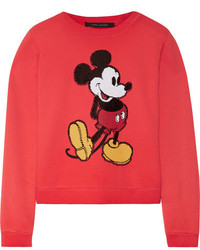 Marc Jacobs Sequin Embellished Cotton Jersey Sweatshirt Red