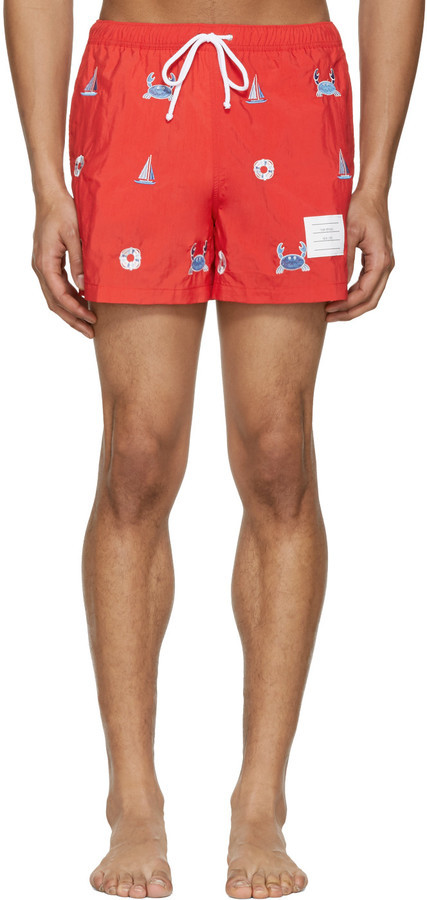 cf9bc0941e Thom Browne Red Classic Funmix Swim Trunks, $410 | SSENSE ...