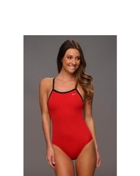 Nike Solid Poly Lingerie Tank One Piece Swimsuits One Piece Red