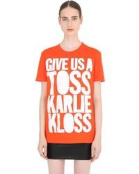 House of Holland Karlie Kloss Cotton Jersey T Shirt