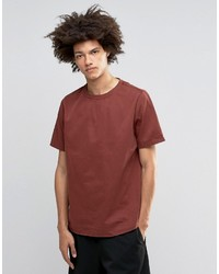 Asos Woven Heavyweight Laundered T Shirt In Rust