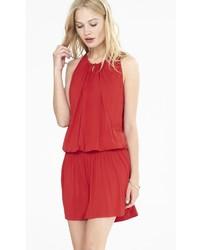 Red Smocked Waist Tank Dress