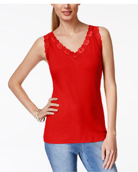 Karen Scott Lace Trim Tank Top Only At Macys