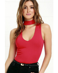 LuLu*s Powerhouse Red Bodysuit