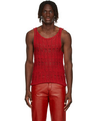 Situationist Red Knit Tank Top
