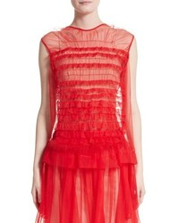 Simone Rocha Teddy Feather Trim Tulle Top