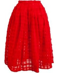 Red Textured Full Skirt