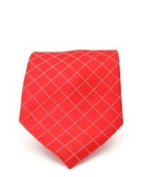 Ferrecci Red Diamond Checkered Neck Tie And Handkerchief Set