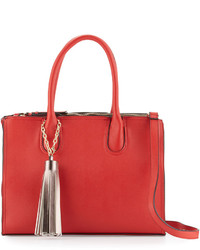 Neiman Marcus Saffiano Faux Leather Tassel Tote Bag Red