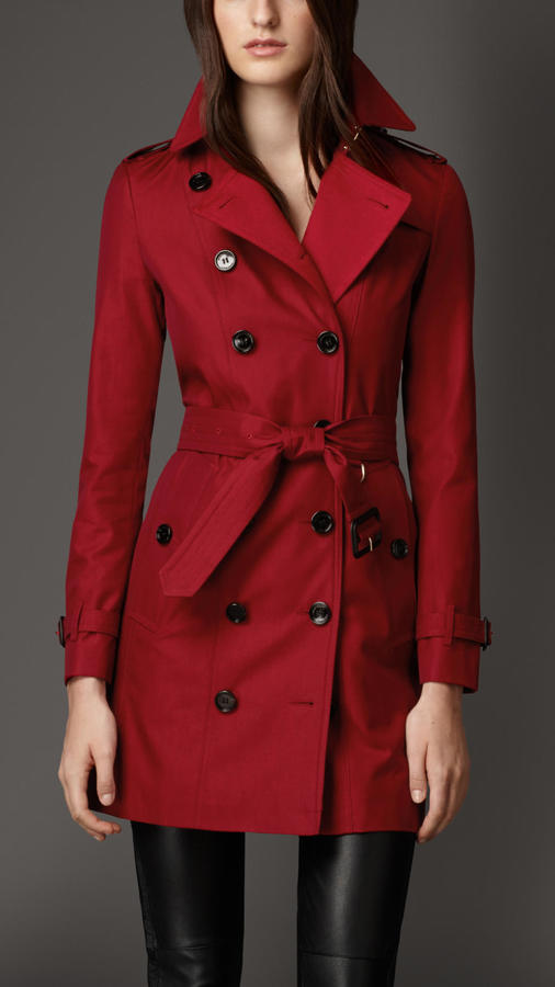 c67be6004739 ... Red Trenchcoats Burberry Gabardine Trench Coat With Check Cashmere  Undercollar ...
