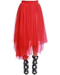 MSGM Asymmetrical Tulle Midi Skirt