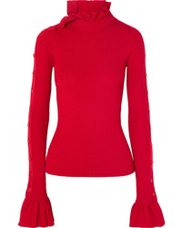 Preen by Thornton Bregazzi Amanda Button Embellished Ruffled Ribbed Wool Sweater