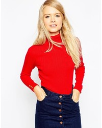 Asos Collection Rib Sweater With Roll Neck With Button Cuff