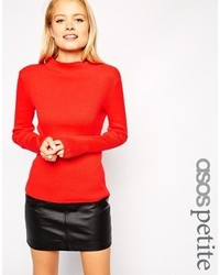 Asos Petite Sweater In Rib With Turtleneck