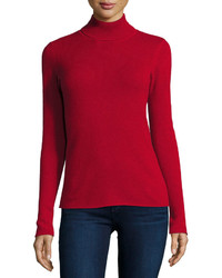 Neiman Marcus Cashmere Basic Turtleneck Sweater Red