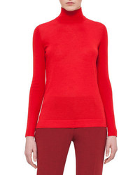 Cashmere blend turtleneck sweater pomegranate medium 694329