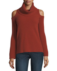 Neiman Marcus Cashmere Collection Ribbed Cold Shoulder Cashmere Turtleneck