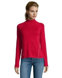 Tahari Red Cotton Rib Knit Broderick Zip Slit Mock Neck Sweater