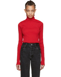 Vetements Ssense Red Ribbed Turtleneck