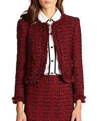 Alice olivia kidman frayed tweed jacket medium 81736