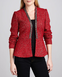 Neiman Marcus Boucle Beaded Trim Peplum Jacket
