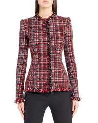 Alexander McQueen Frayed Artisan Tweed Jacket