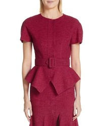 Oscar de la Renta Peplum Wool Blend Tweed Jacket