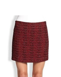 Alice olivia elana metallic tweed mini skirt red medium 376479