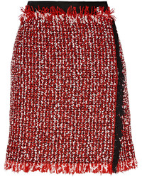 Wrap effect cotton blend tweed mini skirt red medium 376476