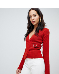 Asos Tall Asos Design Tall Wrap Jumper In Rib With Detail